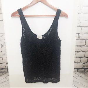 ANTHRO Pins and Needles Black and Gold Lace Tank